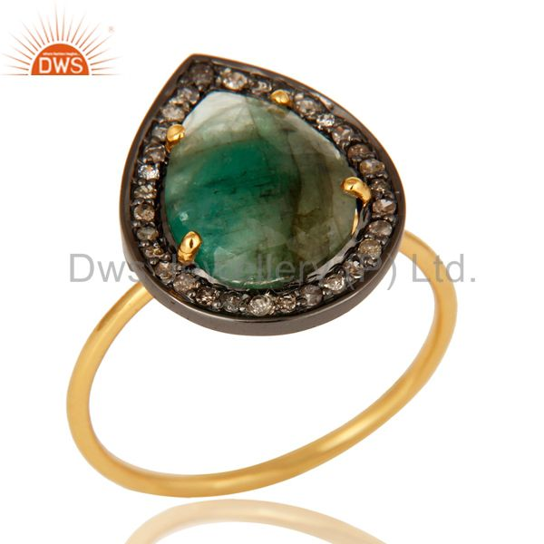 14K Yellow Gold Pave Diamond And Emerald Gemstone Stacking Ring
