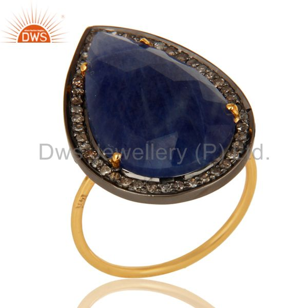 Natural Blue Sapphire Gemstone Pave Diamond 14K Yellow Gold Cocktail Ring