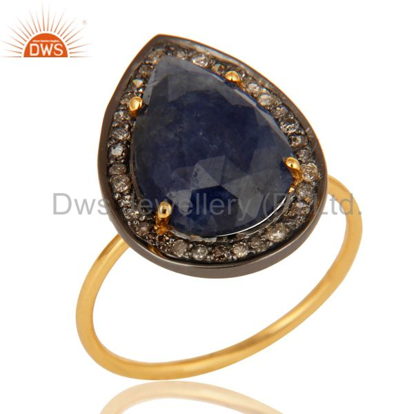 14K Yellow Gold Pave Diamond And Natural Blue Sapphire September Birthstone Ring