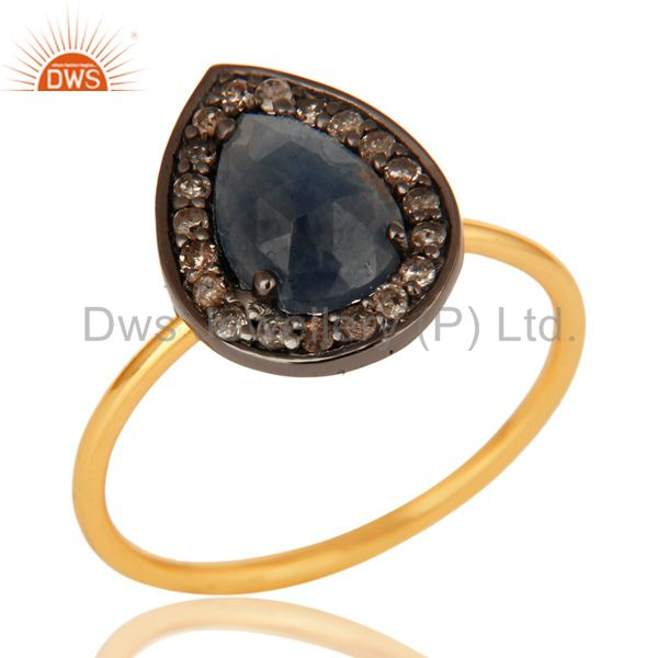 14K Solid Yellow Gold Blue Sapphire Pave Diamond Engagement Stacking Ring