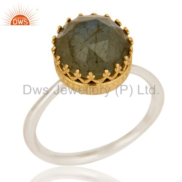 Solid Yellow Gold Sterling Silver Natural Labradorite Ring Engagement Jewelry