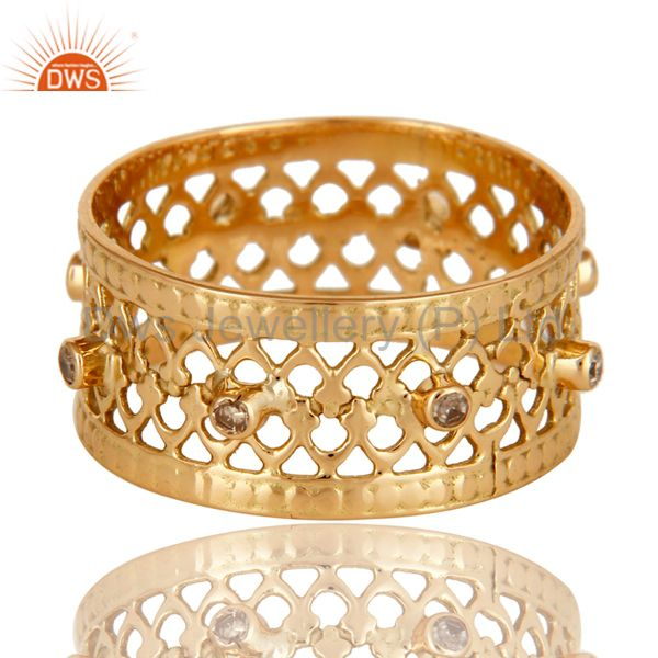 18K Solid Yellow Gold Natural Diamond Handmade Filigree Wide Band Wedding Ring