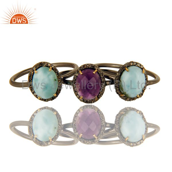 14K Solid Yellow Gold Larimar, Amethyst And Pave Set Diamond Stacking Ring 3 Pcs