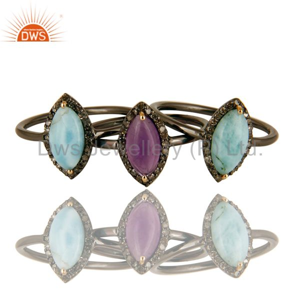 14K Solid Yellow Gold Larimar, Amethyst And Pave Diamond Stacking Ring 3 Pcs Set