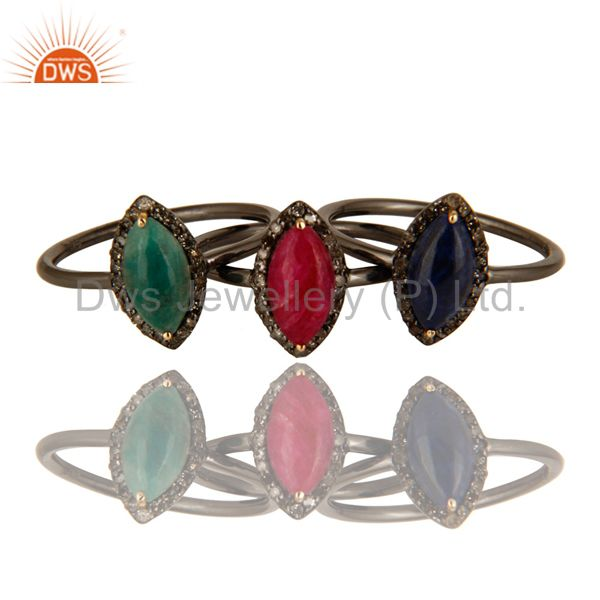 14K Yellow Gold Emerald, Blue Sapphire And Ruby Stacking Ring With Pave Diamond