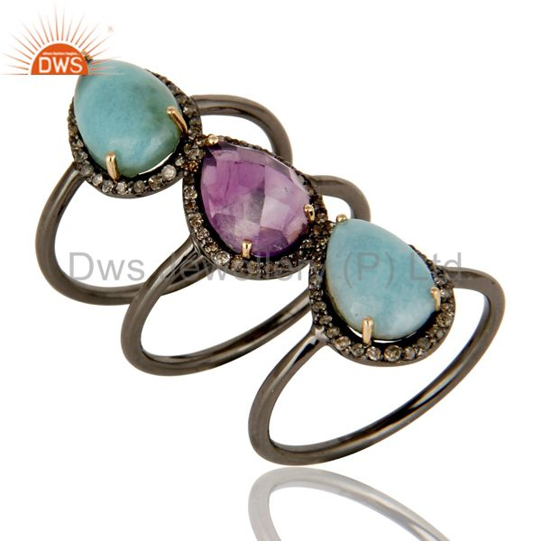 Larimar and Amethyst Three Ring Set Made with Diamond and Sterling Silver