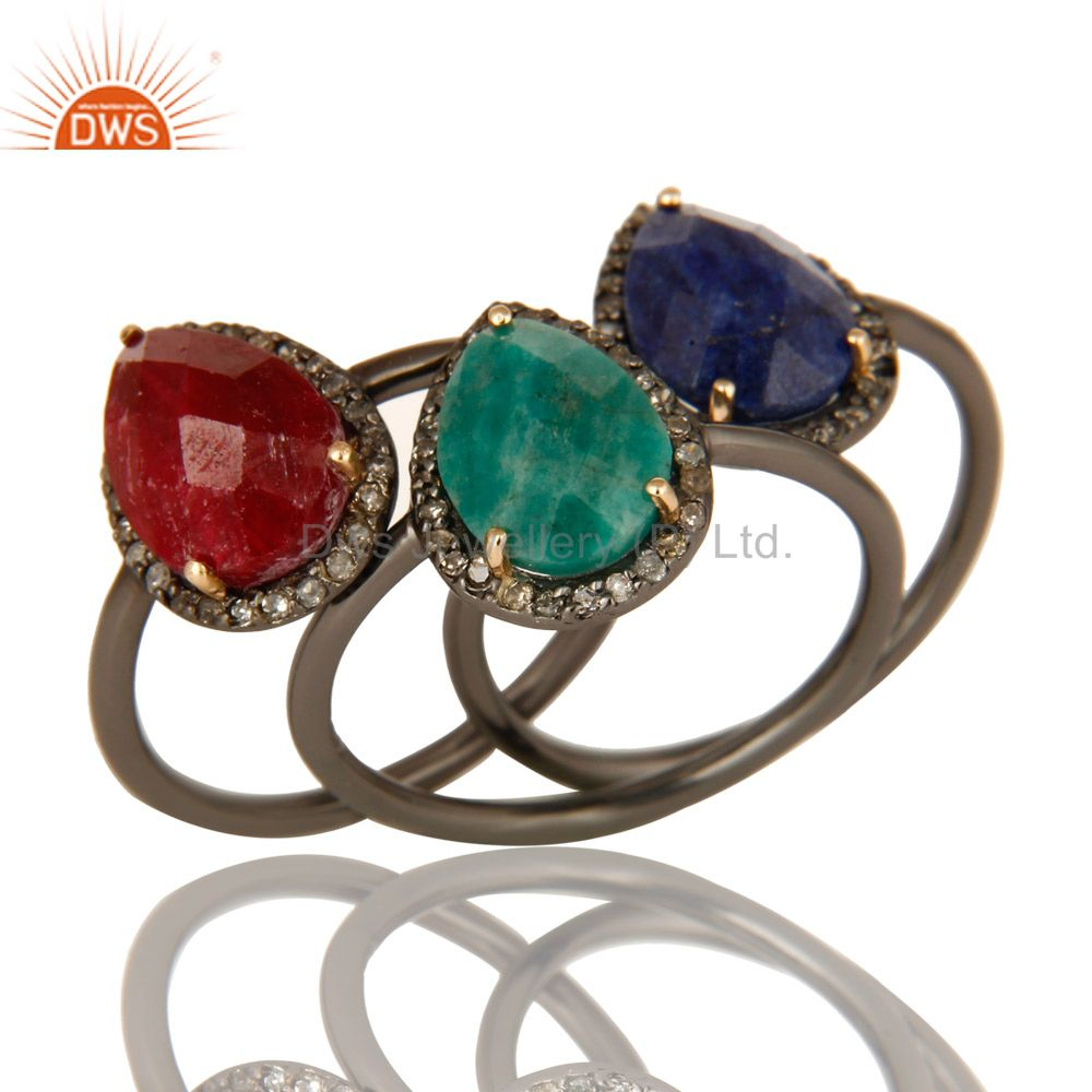 14K Gold Pave Diamond Ruby, Emerald And Blue Sapphire Stack 3 Pieces Ring Set