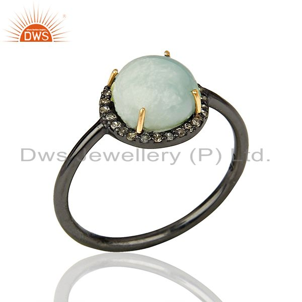 14k Gold Rhodium Plated Silver Larimar Diamond Ring Jewelry Supplier