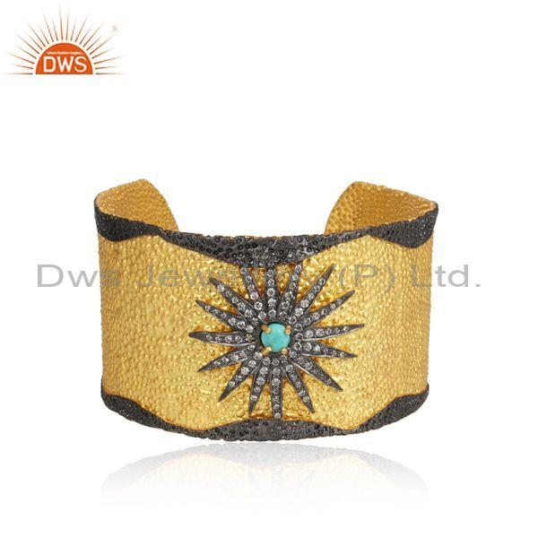 Cubic Zircon Turquoise Texture Gold On Silver Cuff Bangle