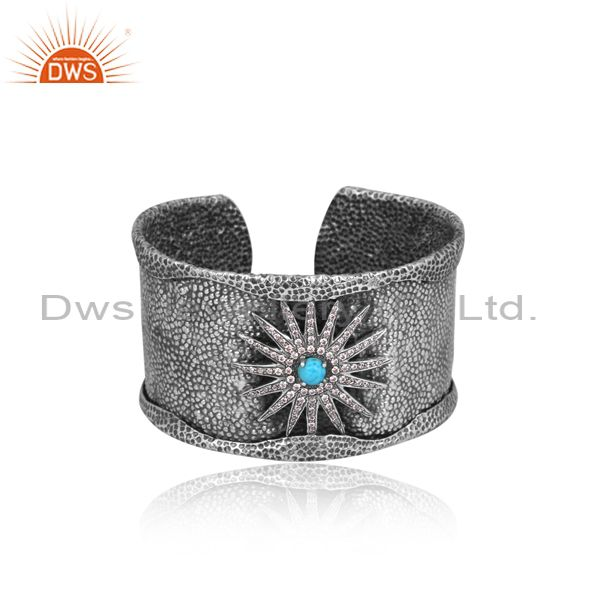 Cz and turquoise set handmade oxidized sterling silver cuff