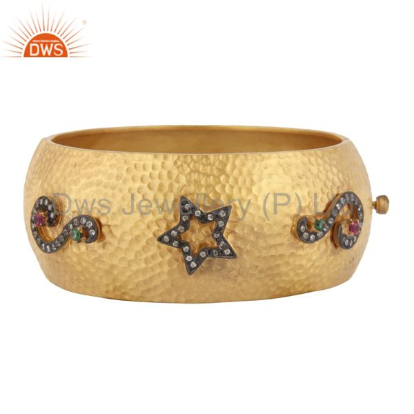 Matte finish 18kt gold plated hand hammered cubic zirconia bangle