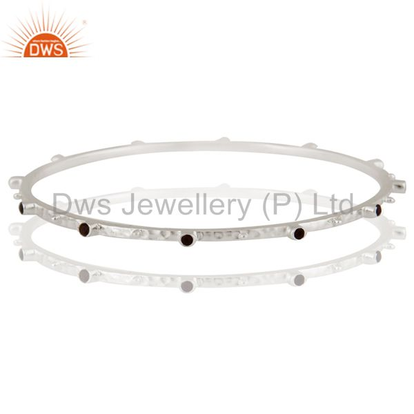 925 sterling silver smoky quartz gemstone stackable bangles