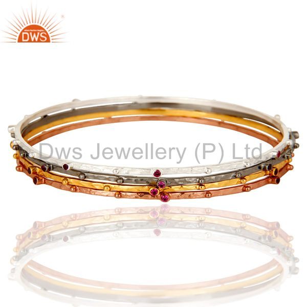 14k yellow gold brass ruby red cubic zirconia bangles set 4 pieces