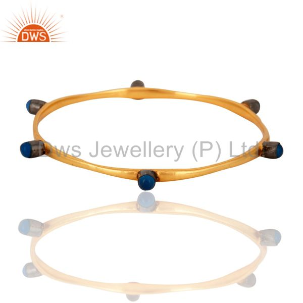 18-Carat Yellow Gold Plated Blue Chalcedony Gemstone Womens Bangle Bracelet
