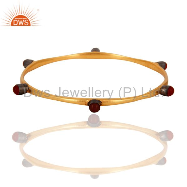 Handmade 18K Gold Plated 925 Sterling Silver Natural Red Onyx Gemstone Bangle