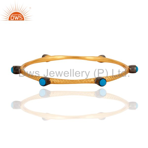 Handmade Turquoise Gemstone 24k Yellow Gold Plated Sleek Fashion Bangle