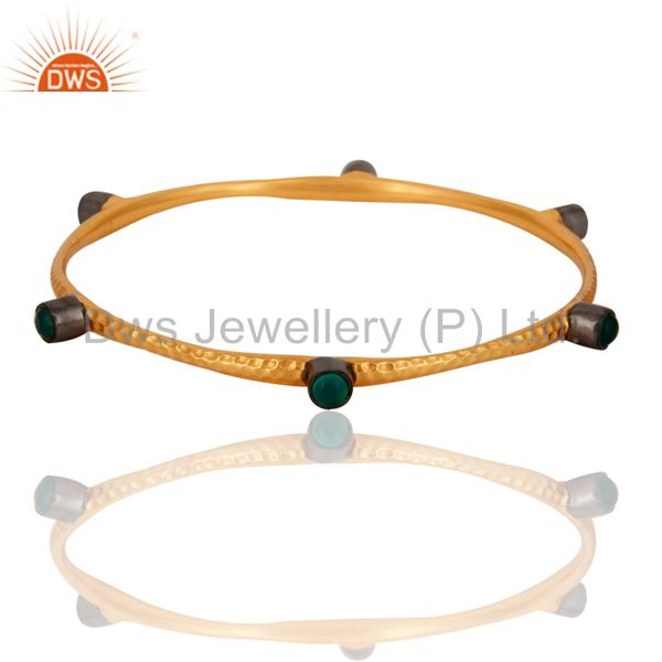 22K Gold Plated Green Onyx Gemstone Stacking Gemstone Bangle Bracelets