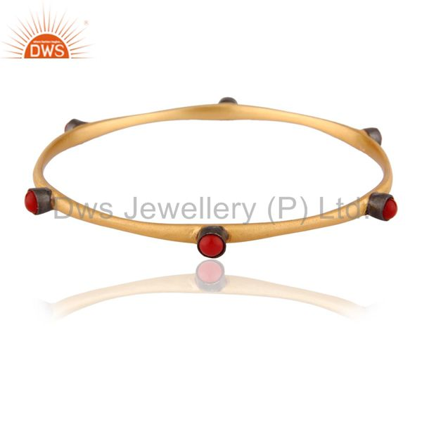 18k Gold GP Red Coral Gemstone Handmade Sleek Bangle Jewelry .925 Sterling Silve