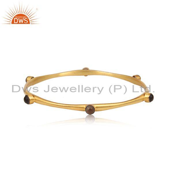 Smoky Set Gold And Black On 925 Silver Handmade Bangle