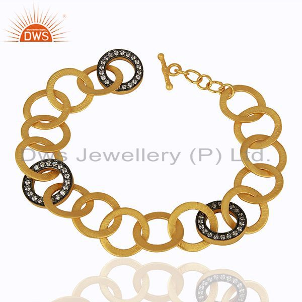 18K Yellow Gold Plated Brass Link Chain Bracelet With White Zircon