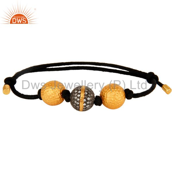 18K Yellow Gold Plated CZ Spheres Adjustable Macrame Fashion Bracelet