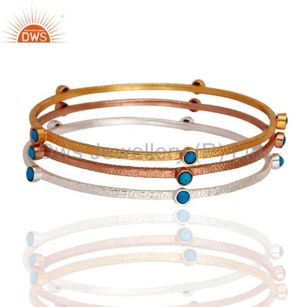 18k gold natural turquoise ladies fashion designer sleek bangle