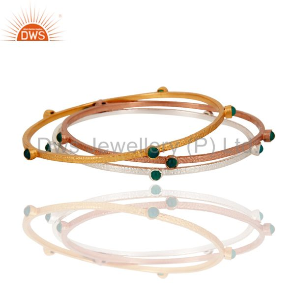 24K Gold Plated Emerald Green Onyx Gemstone Sleek Fashion Bangle 3 Pcs Set