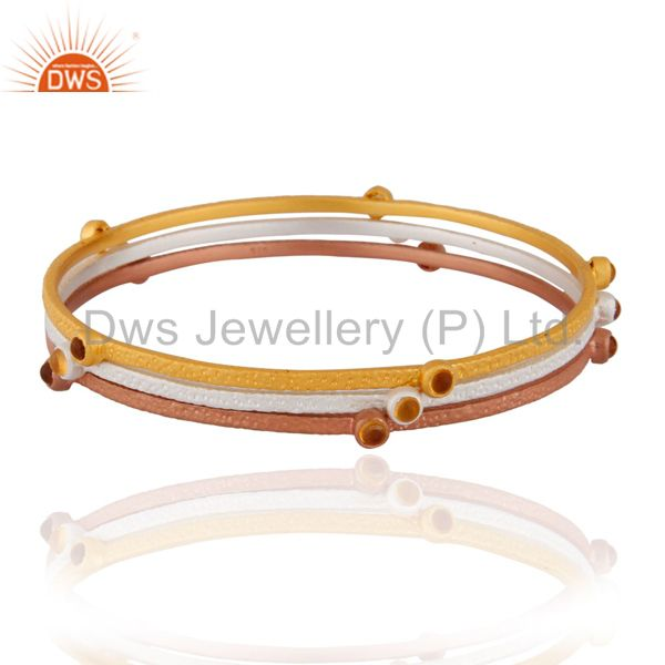 Rose Gold Plated Citrine Gemstone 925 Sterling SIlver Matte Finish Bangle Three