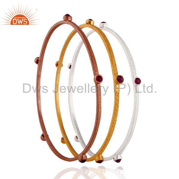 Set of 3 Pieces Sterling Silver Ruby 18k Gold Plated Stackable Bangle Bracelets