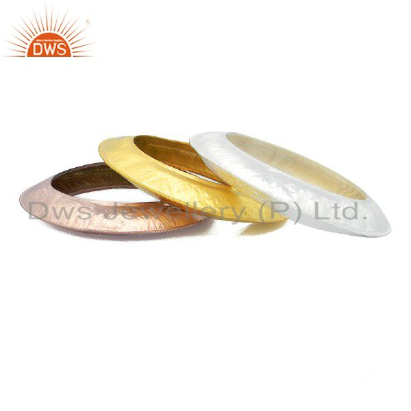 18K Gold Plated Sterling Silver Matte Finished Bangle Bracelet Set Of 3 Pieces