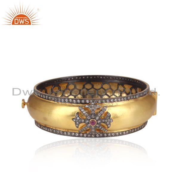 Handmade CZ And Ruby Set Gold On 925 Silver Designer Bangle