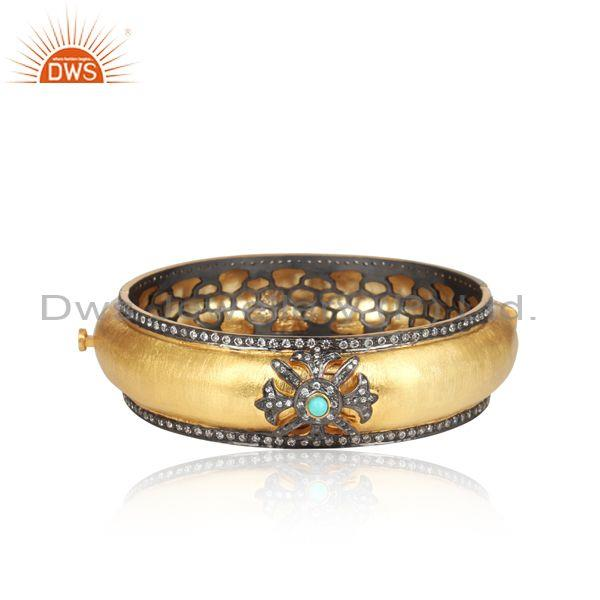 CZ And Turquoise Gemstone Plated Silver Statement Bangle