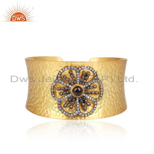 Texture Gold Plated Silver Flower Design CZ Cuff Bangle