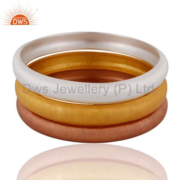 Gold plated 925 silver satin finish women fashion bangle 3 pieces