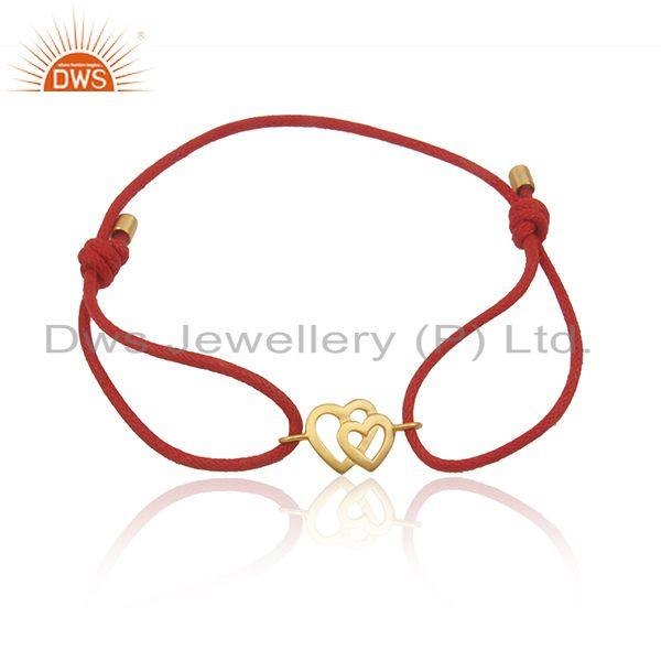 Heart Shape Gold Plated Sterling Silver Macrame Bracelet Manufacturer