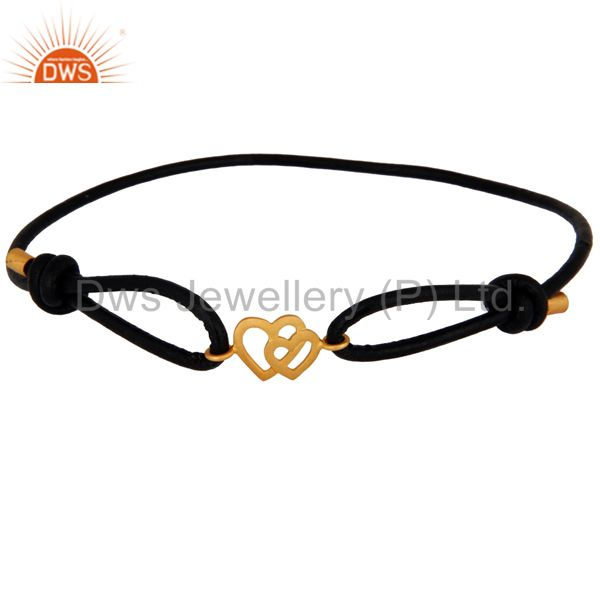 24k Gold Plated Sterling Silver Double Heart Charm Black Cord Bracelet Jewelry