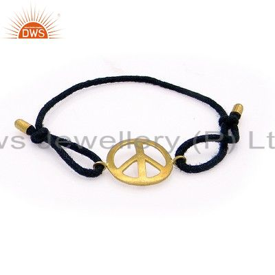 18K Gold Plated Sterling Silver Peace Sign Adjustable Macrame Fashion Bracelet