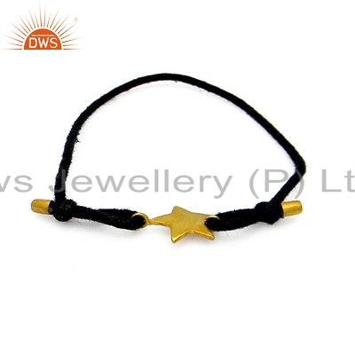 18K Yellow Gold Plated Sterling Silver Star Charms Macrame Fashion Bracelet