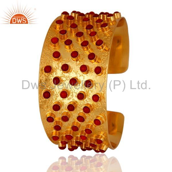 24K Yellow Gold Plated Brass Red Coral Fashion Cuff Bracelet Wide Bangle Jewelry