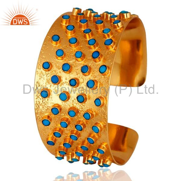 24K Yellow Gold Plated Brass Turquoise Ladies Fashion Wide Cuff Bracelet Bangle