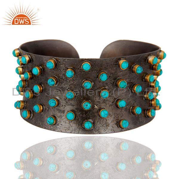 Oxidized Sterling Silver Turquoise Gemstone Wide Cuff Bracelet Bangle