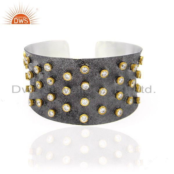 Oxidized and 22k gold plated sterling silver cz designer fashion cuff bracelet