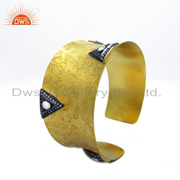 Oxidized And 22K Gold Plated Sterling Silver Crystal Polki Fashion Cuff Bracelet