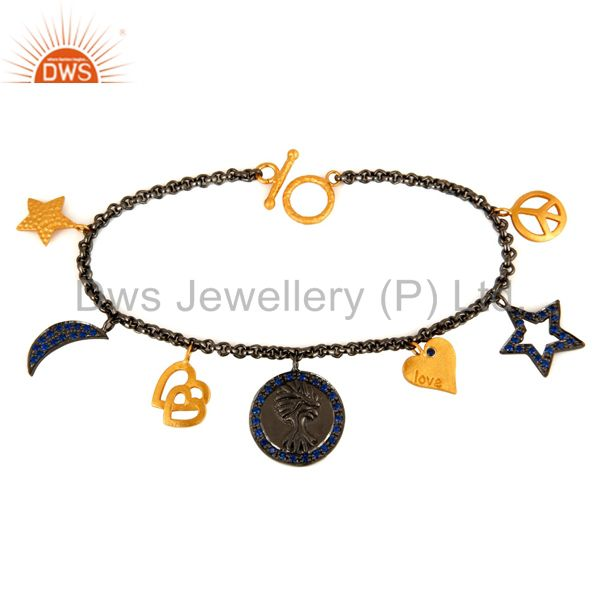 18K Yellow Gold Plated Sapphire Blue CZ Charms Link Chain Bracelet For Womens