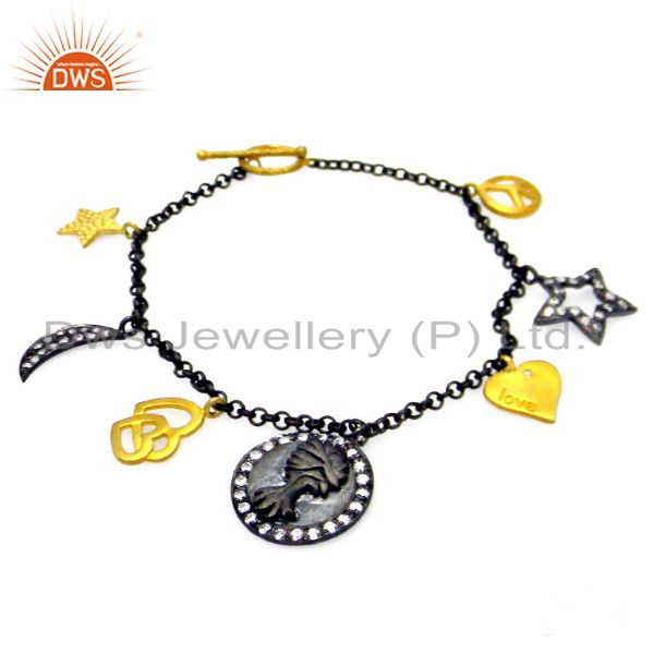 22K Gold Plated Oxidized Sterling Silver White Topaz Fashion Charms Bracelet