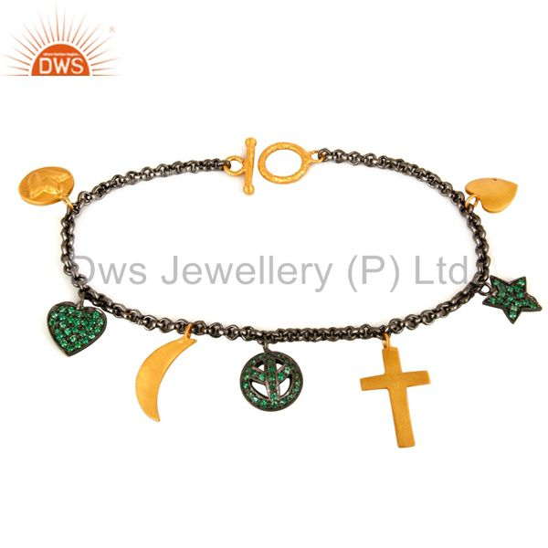 18K Gold And Black Rhodium Plated Emerald Green CZ Charms Ladies Chain Bracelet