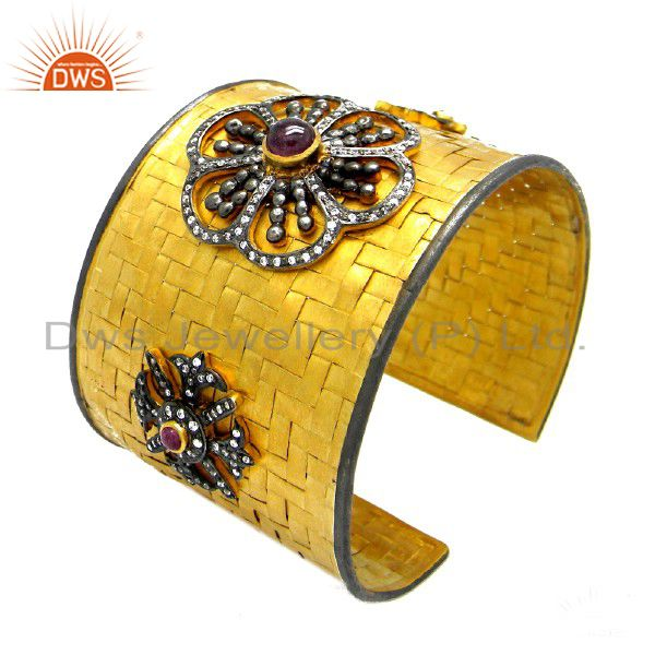 22K Gold Plated Sterling Silver Tourmaline And CZ Designer Woven Cuff Bracelet