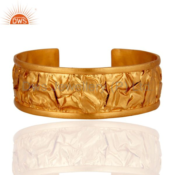 Gold Plated 925 Sterling Silver Hammered Fashion Wedding Bangle Cuff Bracelet