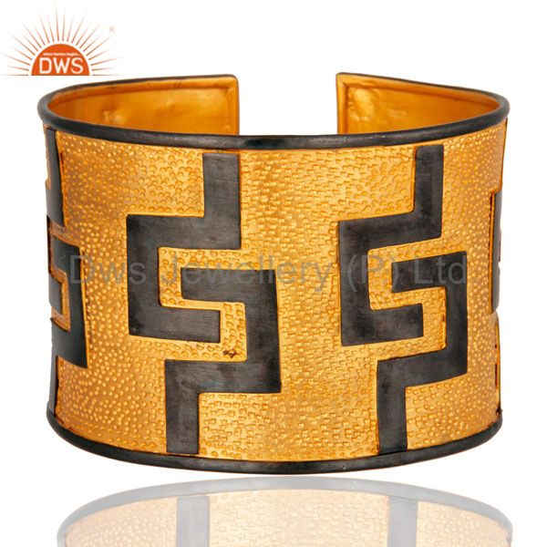 Genuine 925 Sterling Silver Gold Plated Finish Hammered Wide Cuff Bracelets