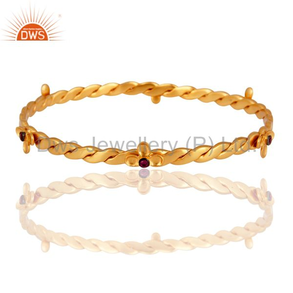 18K Yellow Gold Plated Red Cubic Zirconia Handmade Bangle / Bracelet
